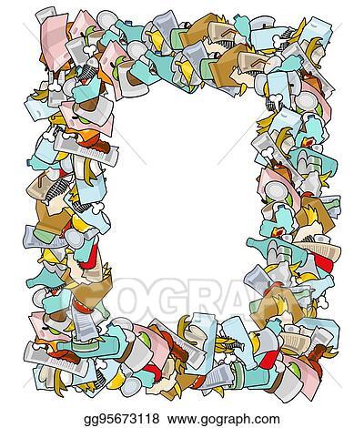 EPS Illustration - Frame garbage. background trash isolated. rubbish ...
