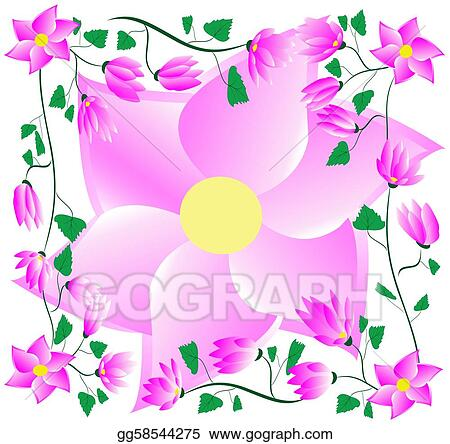 Drawing frame of pink flowers clipart drawing gg58544275 gograph frame of pink flowers mightylinksfo