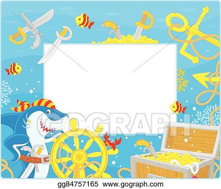 Vector Stock Frame With A Pirate Shark Stock Clip Art Gg84757165