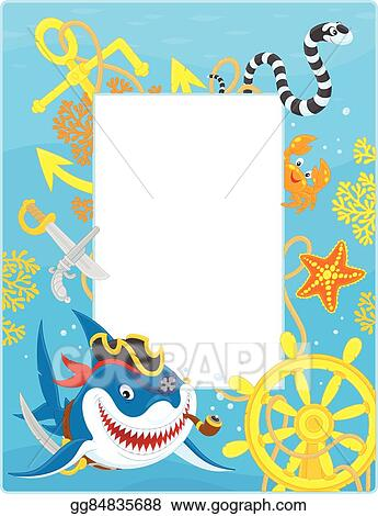 Vector Clipart Frame With A Pirate Shark Vector Illustration