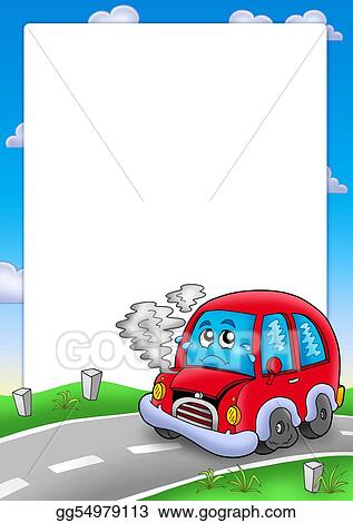 Drawing - Frame with broken cartoon car. Clipart Drawing gg54979113 ...