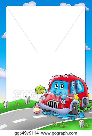 Drawing - Frame with cartoon car wash. Clipart Drawing gg54979114 ...
