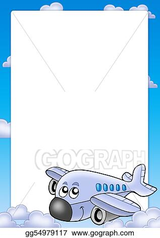 cute airplane drawing with color