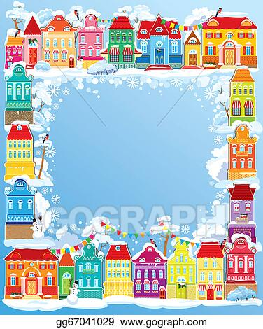 frame with decorative colorful houses christmas and new year holidays card with small fairy town