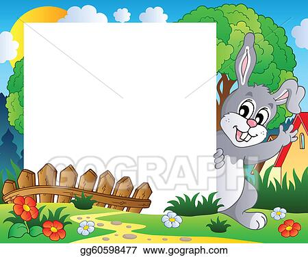 Vector Stock - Frame with easter bunny theme 1. Clipart Illustration ...