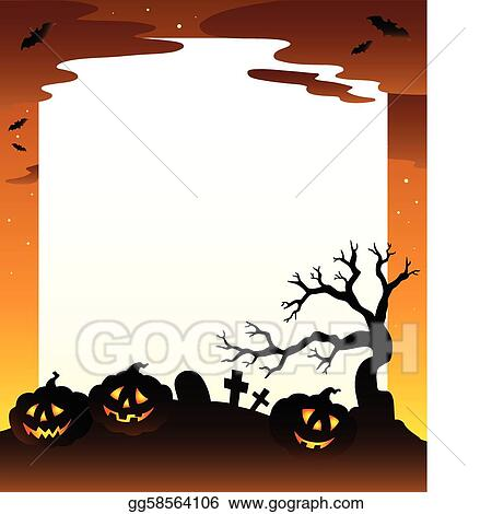 vector art frame with halloween scenery 1 clipart drawing rh gograph com sensory clip art visual schedule clipart scenery pictures