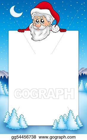 Drawings Frame With Lurking Santa Claus 1 Stock Illustration