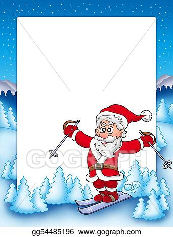 Clip Art - Frame with skiing santa claus. Stock Illustration ...