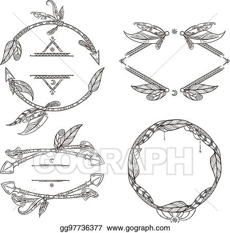 Clip Art Vector Frames Set Of Feathers Arrows And Other Decorative Elements In Boho Style Vector Illustrations Stock Eps Gg97736377 Gograph