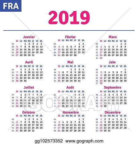 Calendrier Francais 2019.Clip Art Vectoriel Francais Calendrier 2019 Dessin Clip