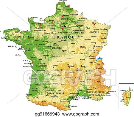 Map Of France Regions With Cities.Eps Vector France Physical Map Stock Clipart Illustration