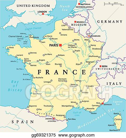 Map Of France In English.Vector Clipart France Political Map Vector Illustration