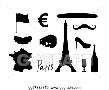 vector art france set icons traditional travel symbol sights and