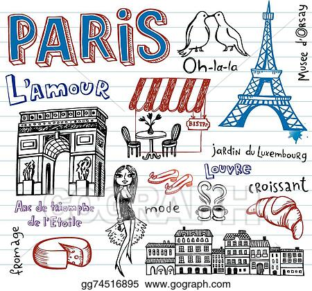 Vector Art France Symbols As Funky Doodles Clipart Drawing