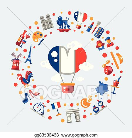 vector clipart france travel icons circle postcard with famous rh gograph com French Border Clip Art French Border Clip Art