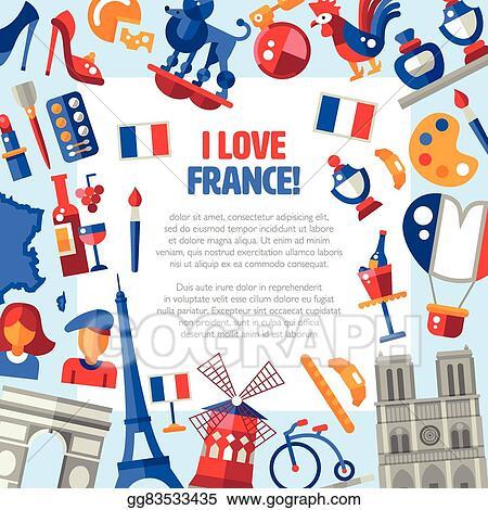 vector clipart france travel icons circle postcard with famous rh gograph com Vintage Paris Clip Art Vintage French Clip Art