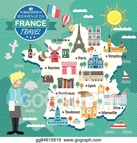 Travel Map Of France.Vector Art France Travel Map Clipart Drawing Gg84615619 Gograph