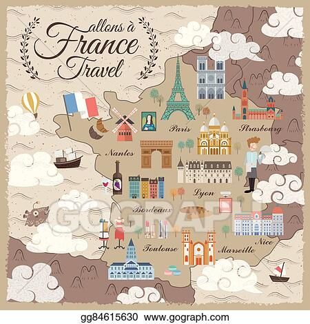 Travel Map Of France.Vector Art France Travel Map Clipart Drawing Gg84615630 Gograph