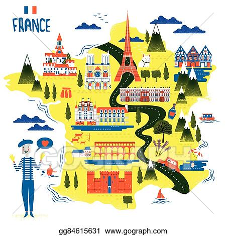 Vector Art - France travel map. Clipart Drawing gg84615631 ... on wilderness lodge map, animal kingdom map, grand floridian map, crazy road map, bay lake tower map, boardwalk map, caribbean beach map, magic kingdom map, downtown disney map, art and animation, coronado springs map, best world map, all-star disney hotel map, usa map, art of disney, australian animal map, all star sports map, art in animation, disney world map, pop century map,