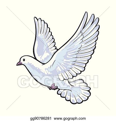 Vector Art Free Flying White Dove Isolated Sketch Style