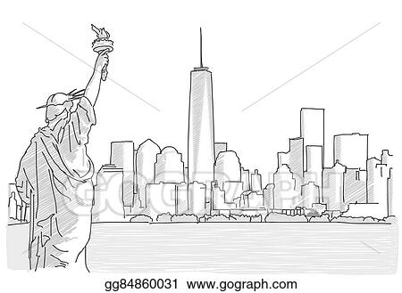 vector illustration free hand sketch of new york city skyline with