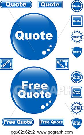 Vector Art Free Quote Glossy Button Blue Icon Clipart Drawing Interesting Free Qoute