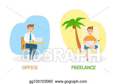 Vector Art Freelance Vs Office Work Concept Illustration