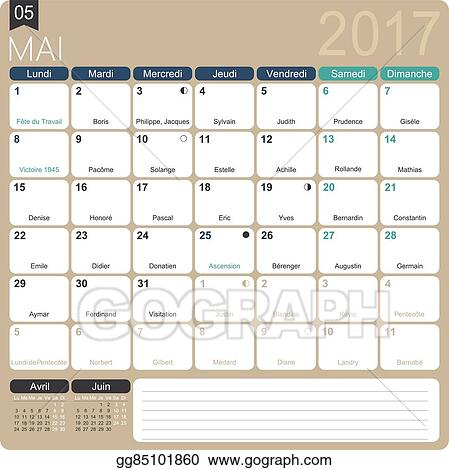 Vector Stock French Calendar 2017 Clipart Illustration Gg85101860