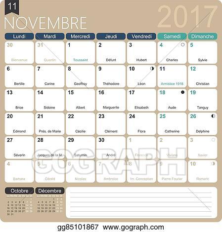 Vector Stock French Calendar 2017 Clipart Illustration Gg85101867