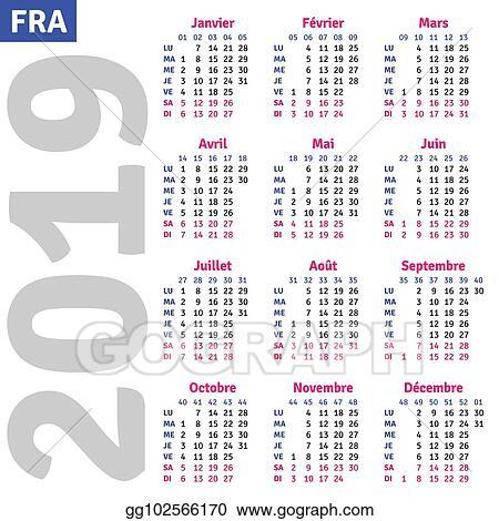 Vector Clipart French Calendar 2019 Vector Illustration