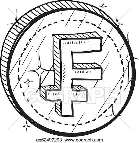 Vector Art French Franc Symbol Sketch Eps Clipart Gg62497293