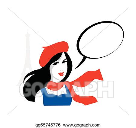vector stock french girl portrait vector clipart illustration rh gograph com French People Clip Art French Flag Clip Art