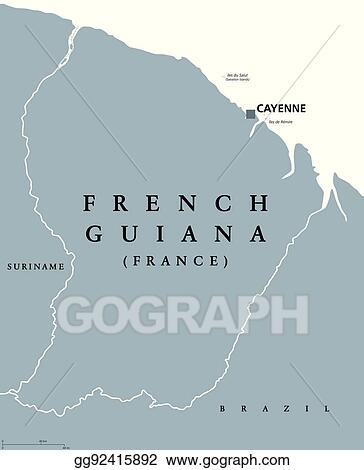 Vector Stock French Guiana Political Map Stock Clip Art