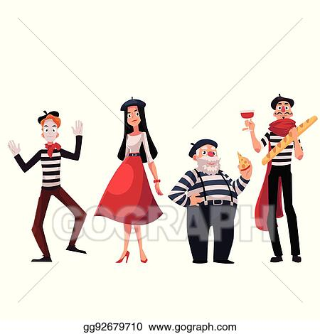 vector illustration french people mimes holding cheese baguette rh gograph com French Beret Clip Art Vintage French Clip Art