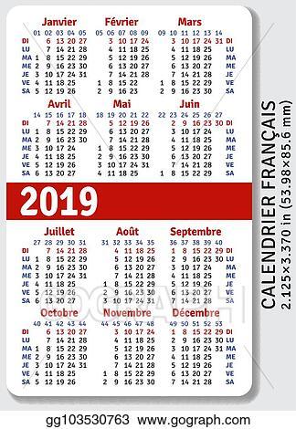 Illustration Calendrier.Vector Illustration French Pocket Calendar For 2019 Stock