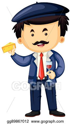 vector art frenchman with cheese and wine eps clipart gg89867012 rh gograph com Clip Art French Designs French Guys Talking Clip Art