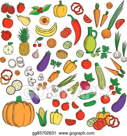vector art fresh healthy farm fruits vegetables flat icons rh gograph com Veggie Cutting Clip Art Protein Clip Art