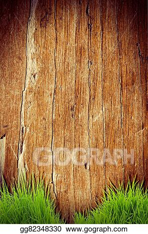 Stock Illustration Fresh spring green grass over wood fence