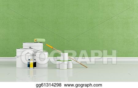 Stock Illustration   Green Room Freshly Painted With A Brush Roller And  Paint Cans   Rendering. Clipart Gg61314298