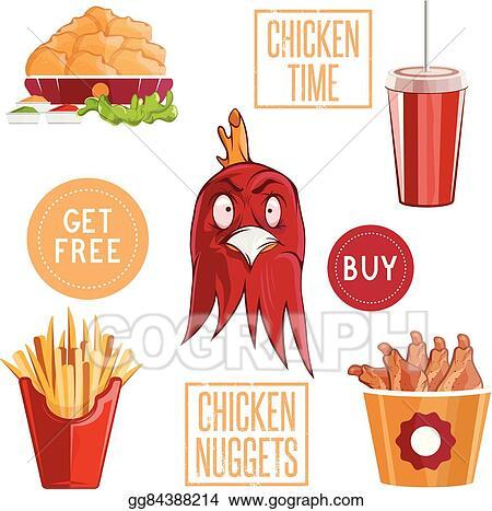 Vector Illustration Fried Chicken Fast Food Vector Illustration