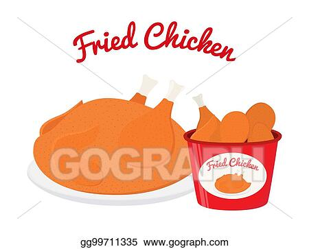 Fried Chicken Legs Wings Bucket Cartoon Flat Style Vector Illustration