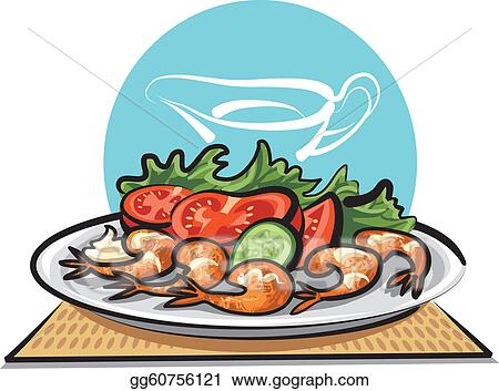 vector art fried shrimps and vegetables clipart drawing rh gograph com