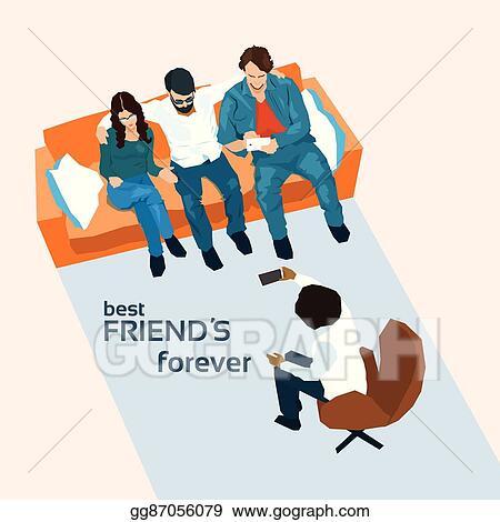 Eps Illustration Friends Group Sit On Sofa Take Selfie Photo