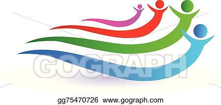 Vector Art - Friends unity concept logo vector design  Clipart