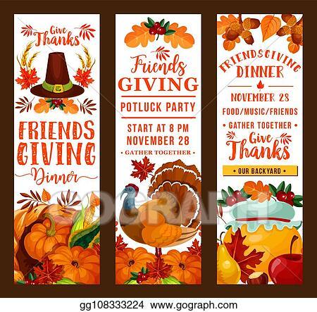 Eps Illustration Friendsgiving Thanksgiving Holiday Potluck Party