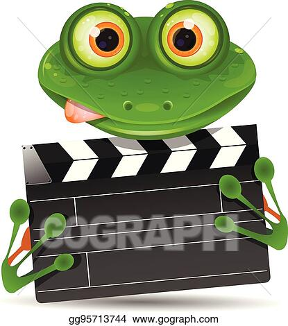 EPS Illustration - Frog with movie clapper. Vector Clipart gg95713744 - GoGraph