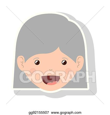 Vector Illustration Front Face Elderly Woman With Straight Short