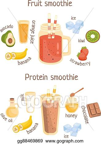 Vector Stock - Fruit and protein smoothies infographic