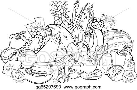 Vector Stock - Fruits And Vegetables For Coloring Book. Clipart  Illustration Gg65297690 - GoGraph
