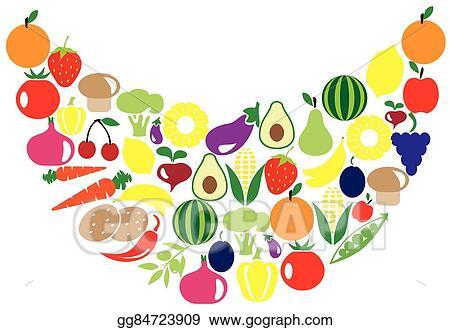 Clip Art Vector Fruits Veggies Smile Stock Eps Gg84723909 Gograph